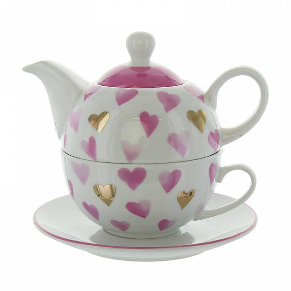 Tea for one Pink&Gold Hearts
